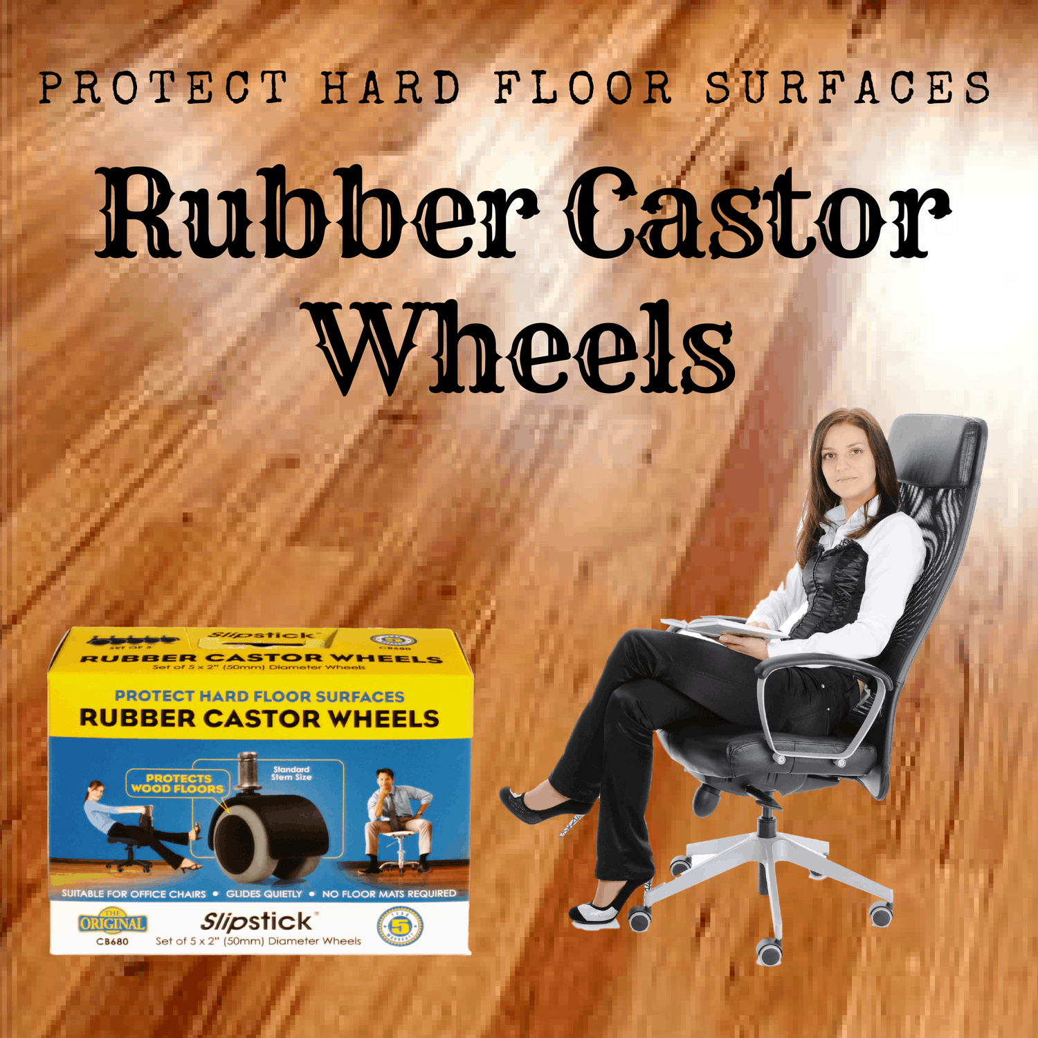 3c5e57031 CB680 Slipstick Rubber Castor Wheels for Office Chairs
